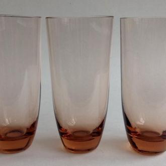 Стаканы Персиковые. 3 шт. Цветное стекло.