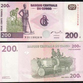 Конго Д. Рес/Congo D. Rep 200 Francs 2000 P95A UNC _ лот № 16 _ Африка