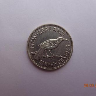 """Новая Зеландия 6 пенсов 1935 George V """"Huia bird"""" серебро отличное состояние очень редкая"""