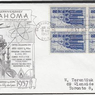 США 1957 ОКЛАХОМА УГЛЕВОДОРОДЫ НЕФТЬ НЕФТЯНАЯ ВЫШКА ДОБЫЧА ПРОМЫШЛЕННОСТЬ КПД Mi.714х4