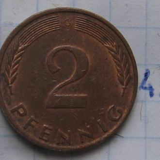 ФРГ, 2 пфеннигa 1976 года (G).