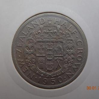"Новая Зеландия 1/2 кроны 1950 George VI ""Crowned shield"" состояние редкая"