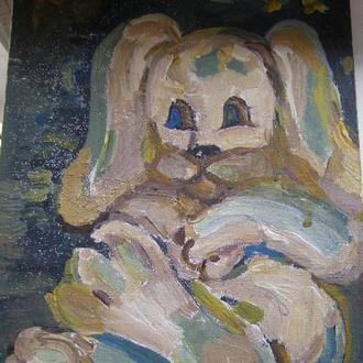 Картина маслом собака авторская