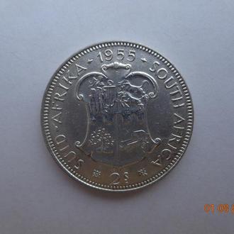 """Южная Африка 2 шиллинга 1955 Elizabeth II """"Shield"""" серебро СУПЕР состояние очень редкая"""
