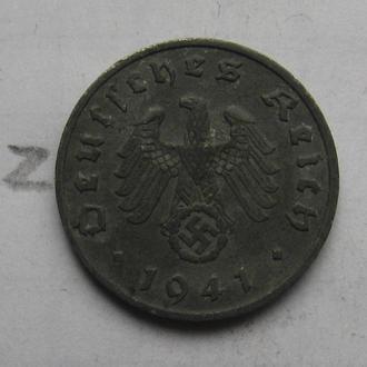 "ГЕРМАНИЯ 1 рейхспфенниг 1941 г. ""A""."