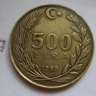 ТУРЦИЯ 500 лир 1989 года.