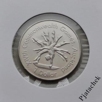 Новая Зеландия 1 доллар 1989 г. гимнастика  Спорт  №2