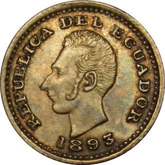 Еквадор 1/2 Decimo 1893 LIMA TF Срібло  UNC   B153