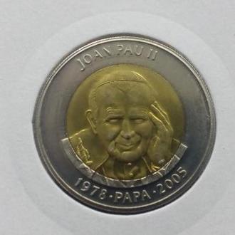Андорра 1 динер 2005 Иоанн Павел II UNC РЕДКАЯ!!!