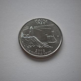 Мейн MAINE Maine монета США Америка квотер США 25 центів 25 центов 2003 рік 2003 год штати території