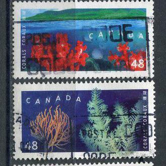 Марки гашеные Канада серия Кораллы подводный мир