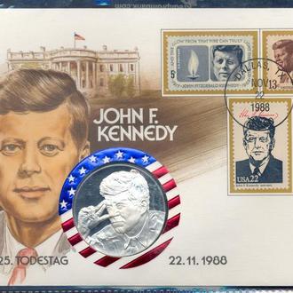Монеты Америка USA Памятная медаль Джон Кенеди 1988 г. Серебро. 999*