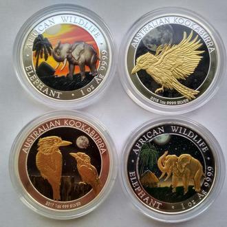 Сомали + Австралия.Набор из 4 монет.4 унции серебра 999.9 пробы.Тираж монет 100 экземпляров в мире.