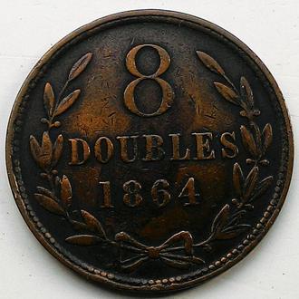 Гернси, 8 дублей 1864 год НЕ ЧАСТАЯ!!!!!!! тираж 280 000.