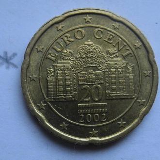 АВСТРИЯ 20 евроцентов 2002 года.