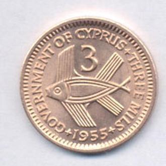 Монеты Кипр Британский 3 милс 1955 г