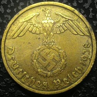 Третий Рейх 10 пфеннигов 1938 D  СВАСТИКА!!