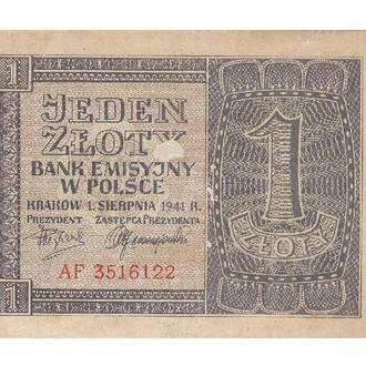 1 ЗЛОТИЙ 1941 ПОЛЬЩА 3516122