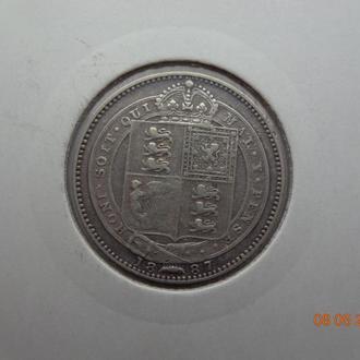 Великобритания 1 шиллинг 1887 Victoria серебро состояние очень редкая