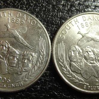 25 центів США 2006 Південна Дакота (два різновиди)