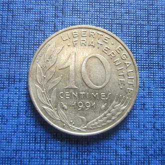 Монета 10 сантимов Франция 1991