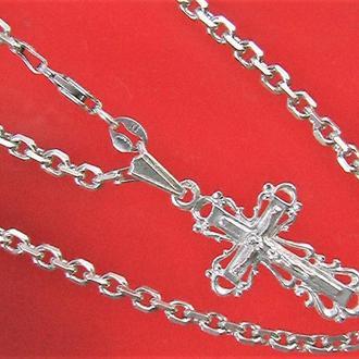 Цепочка и крестик серебро 925 пр 16,98 гр. длина 58 см.