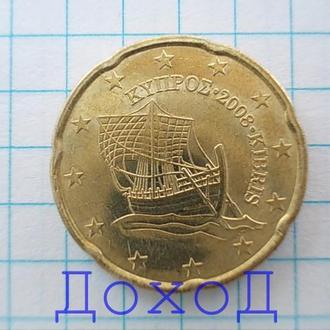 Монета Кипр 20 евроцентов euro cent 2008 нечастая №2