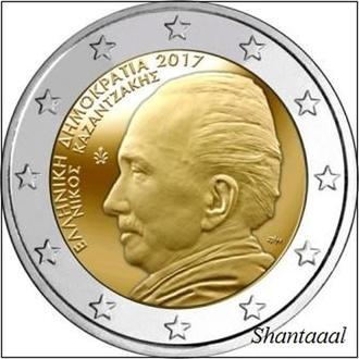 Shantаl, Греция 2 Евро 2017, 60 лет со дня смерти писателя Никоса Казандзакиса