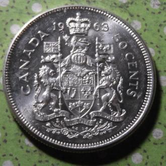 Канада 1963 год монета 50 центов серебро