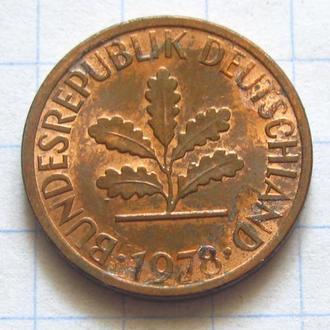 Германия_ 1 пфенниг 1978 F оригинал