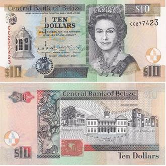 Belize Белиз 10 Dollars 2001 UNC JavirNV