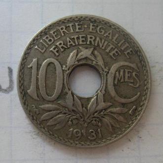 Франция, 10 сантимов 1931 года.