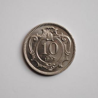 Австро-Венгрия 10 геллеров 1907 г., UNC, 'Австро-венгерская крона (1892-1918)', РЕДКОЕ СОСТОЯНИЕ