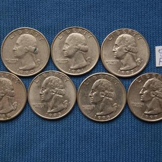 США  погодовка 25 центов квотер 1990 1991 1993 1994  1995 1996 1997 г  P 2