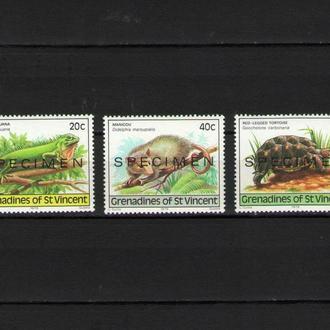 Гренадины 1979 Фауна Надпечатка ОБРАЗЕЦ SPECIMEN MNH **