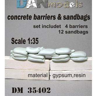 Danmodel 35402 -Бетонные заграждения.и мешки. набор для блокпоста В наборе 4шт