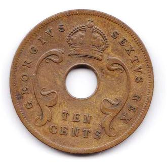 ZM В. Африка  1951 г - 10 центов -  2 скана -