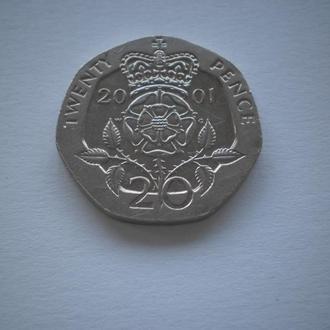 Англия Англія ВеликоБританія 20 пенсів 20 пенсов twenty pence 2001 рік багатогранна семикутна монета