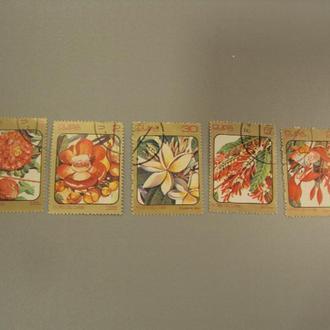 марка серия Куба 1984 флора цветы лот 5 шт гаш №1466