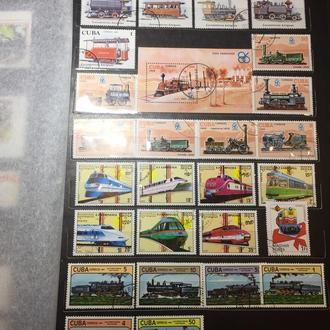 Куба+Кампучия (подборка паровозы)+1 марка Венгрия MNH
