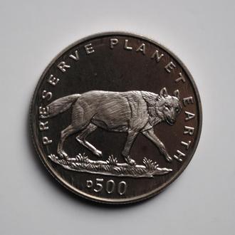 Босния и Герцеговина 500 динаров 1994 г., PROOF, 'Заповедник планета Земля - Волк'