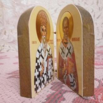 икона складная Святой Николай и Василий Астрожский на дереве-золото