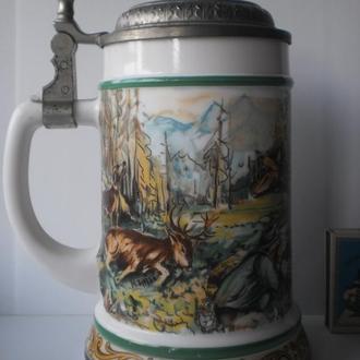 Пивний кухоль для пива пивная кружка бокал полювання охота охотник мисливець з рушницею олені собака