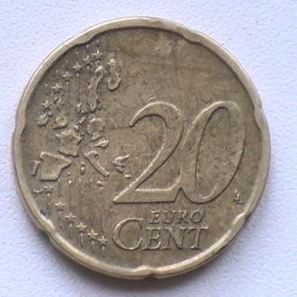 20 Евроцентов 2001 г Нидерланды 20 Центов 2001 г 20 Євроцентів 2001 р Нідерланди 20 Центів 2001 р
