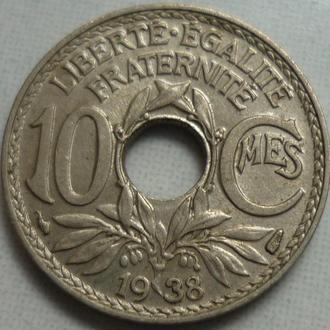 Франция 10 сантимов 1938 состояние