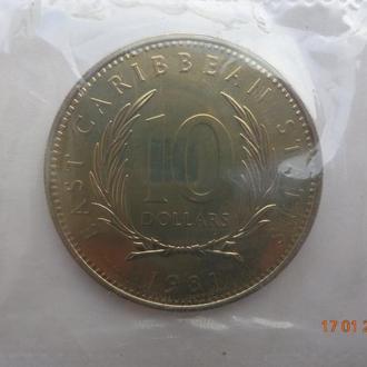 """Восточно-Карибские штаты 10 долларов 1981 Elizabeth II FAO """"World Food Day"""" СУПЕР состояние редкая"""