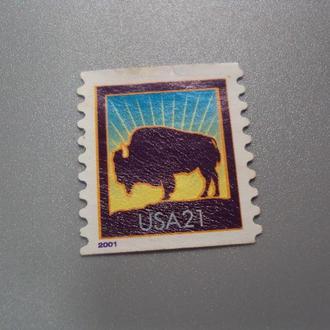 марка США 2001 стандарт фауна животные зубр бизон негаш №2432
