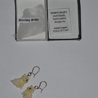 красивые серьги собачки hand made sterling silver винтаж новые в коробочке эксклюзив