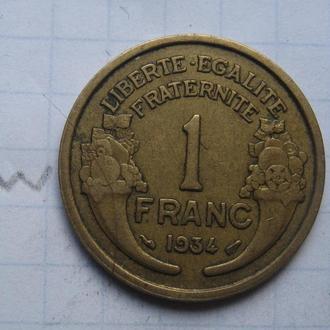 ФРАНЦИЯ. 1 франк 1934 года.