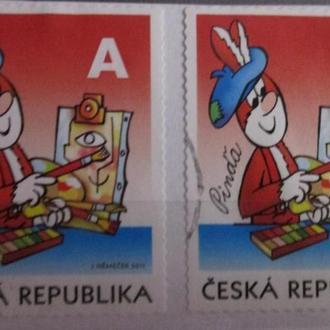 Чехія - поштові марки 2011 р.; Піндя заєць, серія Комікс Чотирилисник, 2 шт.